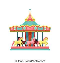 背景, 公園, イラスト, 要素, ベクトル, 回転木馬馬, 白, 娯楽