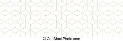 背景, 六角形, 金, 白, -, ベクトル