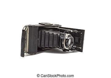 背景, 写真カメラ, 古い, 隔離された, 白