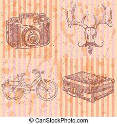 背景, 写真, 鹿, 自転車, ベクトル, suitecase, スケッチ, カメラ, 口ひげ, 情報通