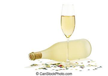 背景, 前部, 鈍い, ガラスビン, 紙ふぶき, 白, シャンペン, prosecco