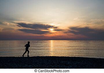 背景, 動くこと, 日没, 地平線, 浜, バックライト, 人