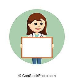 背景, 医者, whiteboard, 女性, 保有物, 円