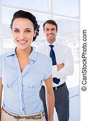 背景, 同僚, マレ, 微笑, 女性実業家