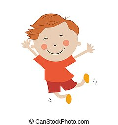 背景, 喜び, 跳躍, 男の子, 白, 隔離された, 女の子