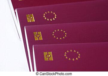 背景, 国, 組合, 同一証明, ヨーロッパ, 星, eu, 白, バイオメトリック, パスポート, パスポート