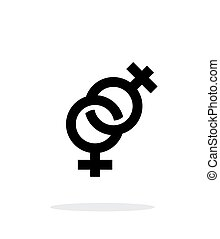 背景。, 图标, 女子同性恋, 白色