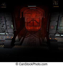 背景, 圖像, ......的, a, 黑暗, 走廊, 上, bord, ......的, a, spaceship.