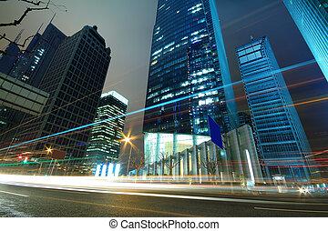 背景, 夜晚, 現代, finance&trade, 風景, 區域, 建築學, lujiazui, 城市