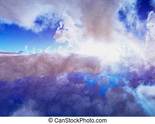 背景, 太陽爆発, arial, 積乱雲