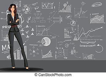 背景, 女性ビジネス, いたずら書き