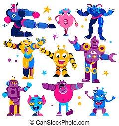 背景, 子供, イラスト, monstrosity, モンスター, セット, ロボット, 巨大, 外国人, 生きもの, ...