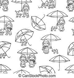 背景, 子供, ペット, seamless, 雨