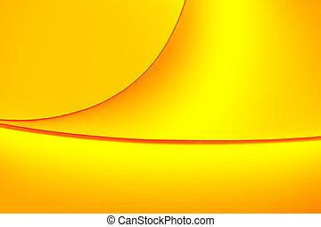 背景, 宏, 圖像, ......的, a, 圖案, 做, ......的, 彎曲, 紙的單子, 在, 黃色, 以及, 橙, 顏色, tones.