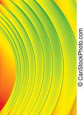 背景, 宏, 圖像, ......的, a, 圖案, 做, ......的, 彎曲, 紙的單子, 在, 黃色, 橙, 以及, 綠色, 顏色, tones.