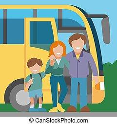 背景, 家族, 抱き合う, 息子, 旅行, trip., 旅行, 車, 母, 幸せなパパ, 地位, 観光客, バス, 父, お母さん, 旗, child., illustration., ベクトル, bus., 道