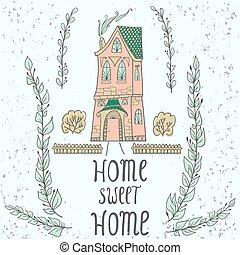 背景, 家, 甘い, twigs.