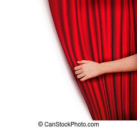 背景, 带, 红, 天鹅绒帘子