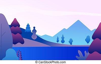 背景, 平ら, minimalistic, 景色。, ピークに達する, evening., ベクトル, 自然, パノラマ, 木, 湖, 山, 抽象的, 山