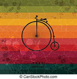 背景, 幾何学的, 自転車, レトロ, カラフルである