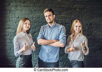 背景, 形作られる, 女性, マレ, ビジネス, ビジネスマン, 上に, チーム, 若い, 暗い, 地位