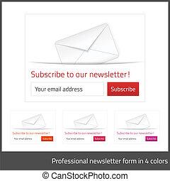 背景, 形態, ライト, ボタン, 予約購読しなさい, 暖かい, 4, 調子, 白, newsletter