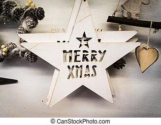 """背景, 形成, 所作, 白色, 木制, 星, 由于, the, 詞, """"merry, xmas""""."""