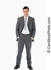 背景, 彼の, に対して, 手, ビジネスマン, 白, 若い, ポケット