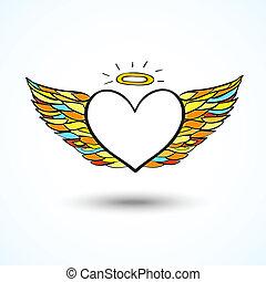 背景, 心, 天使