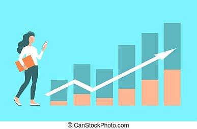 背景, 成長, 辦公室, 女孩, charts., 金融, 工作