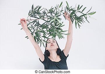 背景, 手掛かり, 木の枝, オリーブ, 女の子, 白