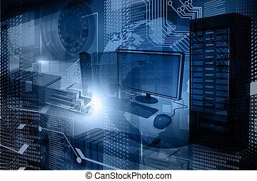 背景, 技術, デジタル, 現代