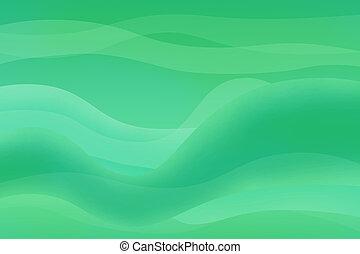 背景, 抽象的, 波, 緑