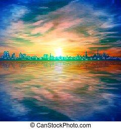 背景, 抽象的, 金, 春, シルエット, 空, 日没, 青, 都市