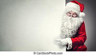 背景, 指すこと, スペース, 広告, claus, santa, ブランク, 微笑, コピー, 旗
