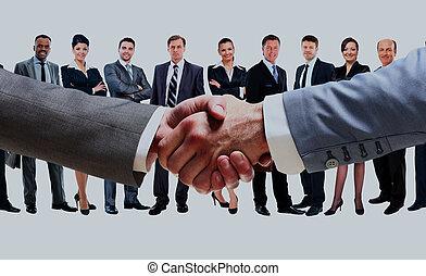 背景, 握手, グループ, 人々。, ビジネス