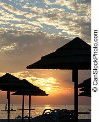 背景, 日の入海, 抽象的