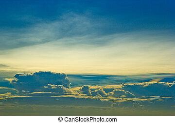 背景, 日没, 青い空, 雲