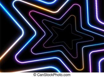 背景, 星, 發光, 摘要, 氖, 鮮艷