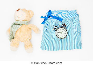 背景, 時計, おもちゃ, 警報, の上, 白い ズボン, プラシ天, パジャマ, 光景