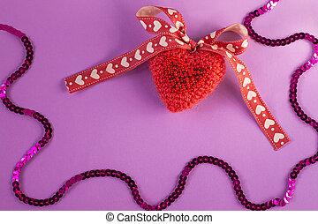 背景, 最小である, 心, flatlay, ピンク, スペース, 媒体, 紫色, 創造的, 旗, カード, 編まれる, concept.valentines