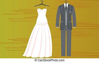 背景, 服, 結婚式, イラスト, 恋人, mock, の上, 抽象的