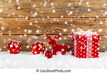 背景, 木製である, 雪, クリスマスの ギフト, 赤