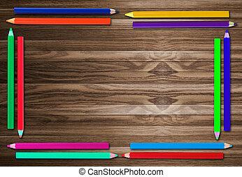 背景, 木製の鉛筆, 古い, フレーム