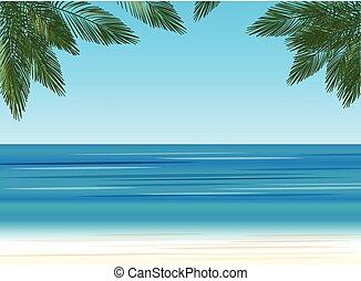 背景, 棕櫚樹, 海