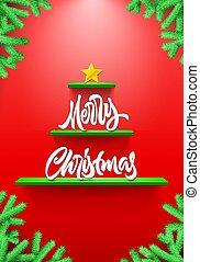背景, 棚, カード, 形づくられた, クリスマスツリー, モミ, レタリング, 赤, ブランチ
