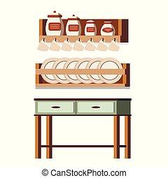 背景, 棚, 木製である, 隔離された, 現場, 無作法, ジャー, カップ, 缶, プレート, 内部, 白, 家具, テーブル, 台所