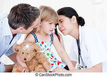 背景, 検査, 放射, 女の子, 女性の医者, 装置, に対して, 白, 医学