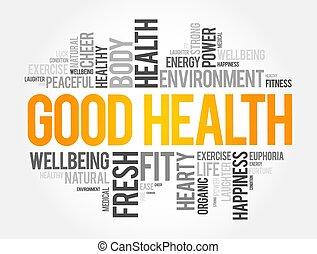 背景, 概念, 単語, よい, 雲, コラージュ, 健康