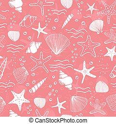 背景, 殻, seamless, seastars, 海, 珊瑚